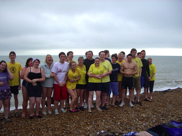 Group picture before entering the water